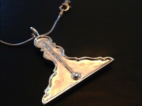 Level Pendant in Fine Detail Polished Silver