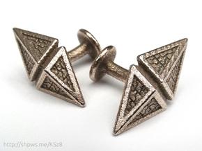 Zendikar Hedron Cufflinks in Polished Bronzed Silver Steel