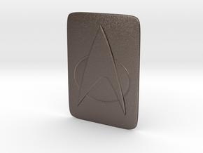 Saturn Hood Emblem Star Trek TNG Insignia in Polished Bronzed Silver Steel