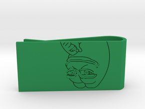 Smug Pepe Money Clip in Green Strong & Flexible Polished