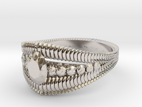 Oval cut ring(Japan 10,USA 5.5,Britain K)  in Rhodium Plated Brass