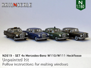 SET 4x Mercedes-Benz Heckflosse (N 1:160) in Frosted Ultra Detail