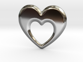 Heart within a heart pendant  in Fine Detail Polished Silver