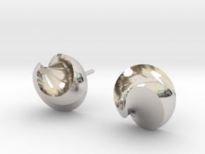 Swirl spike studs in Rhodium Plated Brass