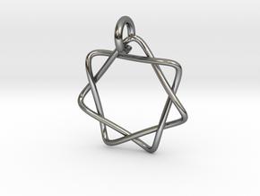Septagram Pendant (Elven Star) in Fine Detail Polished Silver