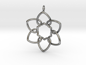 Heart Petals 6 Points - 5cm - wLoopet in Fine Detail Polished Silver