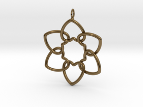 Heart Petals 6 Points - 5cm - wLoopet in Polished Bronze