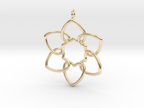 Heart Petals 6 Points - 5cm - wLoopet in 14k Gold Plated Brass