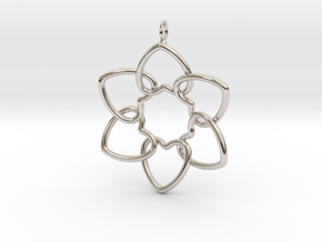 Heart Petals 6 Points - 5cm - wLoopet in Rhodium Plated Brass