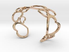 Heart Bracelet 67mm Diameter Oval 29mm Opening in 14k Rose Gold Plated Brass