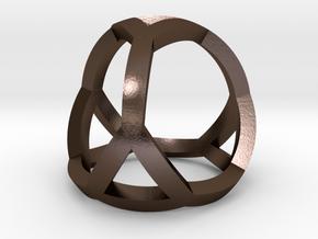 0405 Spherical Truncated Tetrahedron #001 in Polished Bronze Steel