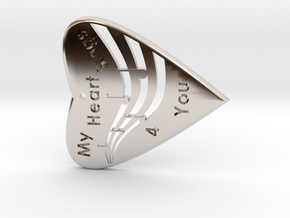 HEART 3- My Heart Sings 4 you with musical Staff & in Rhodium Plated Brass
