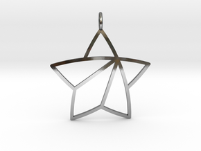 Achievement Star Pendant in Fine Detail Polished Silver