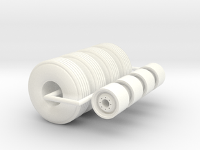 1/64 12L-15 implement tire in White Strong & Flexible Polished