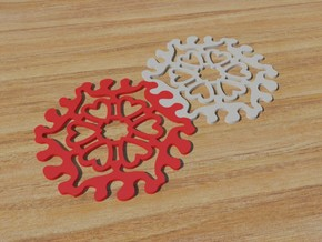 Drink Coaster - Interlocking - Hearts Pattern in White Natural Versatile Plastic