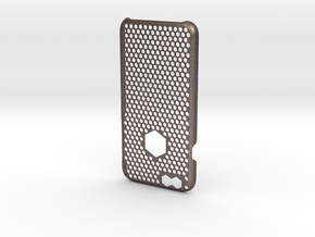 iPhone 6 case_ Hexagons in Polished Bronzed Silver Steel