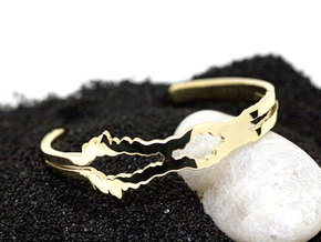 I Love You Sound Wave | Wrist Cuff in 14k Gold Plated Brass: Large