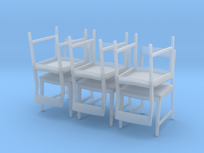 1:48 Danish Modern Chair Set in Smooth Fine Detail Plastic