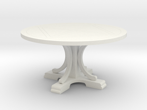 Decorative Round Table in White Natural Versatile Plastic: 1:12