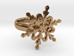 Snowflake Ring 2 d=16mm h35d16 in Polished Brass