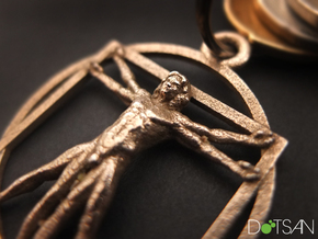 3D Printed Stainless Steel Vitruvian Man Keychain in Polished Bronzed Silver Steel