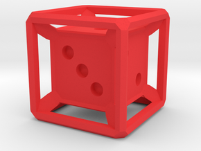 Six Sided Die (Inset) in Red Processed Versatile Plastic