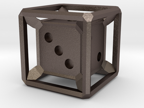 Six Sided Die (Inset) in Polished Bronzed Silver Steel