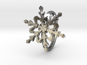 Snowflake Ring 2 d=16mm h21d16 in Fine Detail Polished Silver