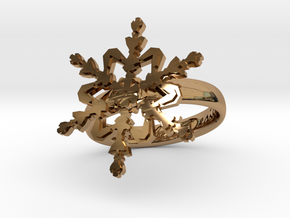 Snowflake Ring 2 d=17mm h35d17 in Polished Brass