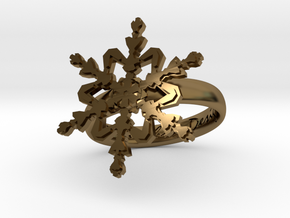 Snowflake Ring 2 d=17mm h35d17 in Polished Bronze