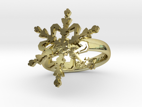 Snowflake Ring 2 d=17mm h35d17 in 18k Gold Plated Brass