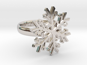 Snowflake Ring 1 d=17mm h35d17 in Rhodium Plated Brass