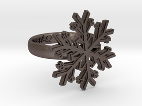 Snowflake Ring 1 d=17mm h35d17 in Polished Bronzed Silver Steel