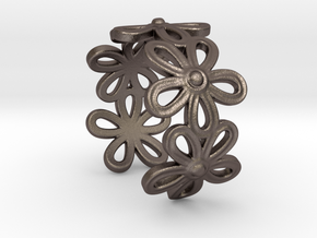 Daisy Ring in Polished Bronzed Silver Steel