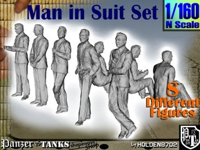 1-160 Man In Suit SET in Smooth Fine Detail Plastic