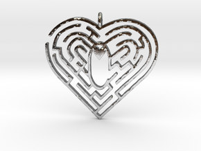 Heart Maze-shape Pendant 1 in Polished Silver