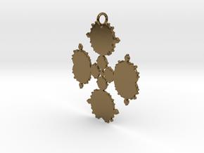 Mandelbrot Flake Pendant in Polished Bronze