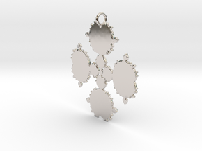 Mandelbrot Flake Pendant in Rhodium Plated Brass
