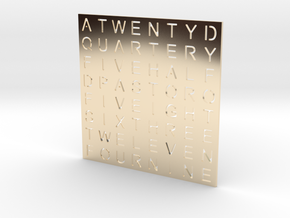 Timesquare Wordclock faceplate (Helvetica font) in 14K Yellow Gold