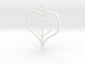 NestedheartV2 in White Processed Versatile Plastic