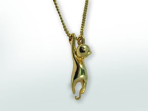 Hanging Cat Pendant in Polished Brass