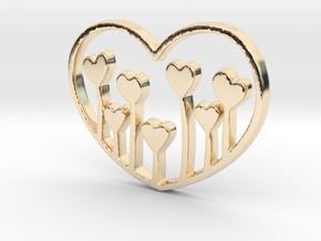 Heart's Garden Pendant - Amour Collection in 14K Yellow Gold