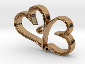Two Hearts in Love Pendant - Amour Collection in Polished Brass