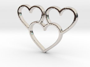 Trio of Hearts Pendant - Amour Collection in Rhodium Plated Brass