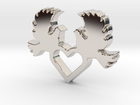 Doves with Heart V1 Pendant - Amour Collection in Rhodium Plated Brass