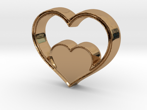 Two Hearts in One Pendant - Amour Collection in Polished Brass