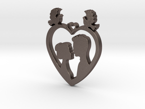 Two in a Heart with Doves V1 Pendant - Amour in Polished Bronzed Silver Steel