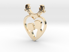 Two in One Heart with Doves V2 Pendant - Amour in 14K Yellow Gold