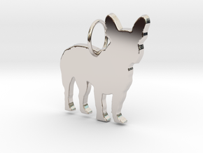 French Bulldog silhouette pendant made by 3d print in Rhodium Plated Brass