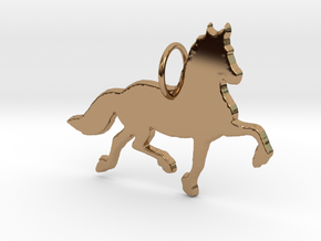 Friesian horse silhouette pendant made by 3d print in Polished Brass